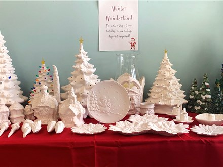 Ceramic paint night Raffle ticket (3) for bisque holiday tree drawing on 10/24/19 8pm