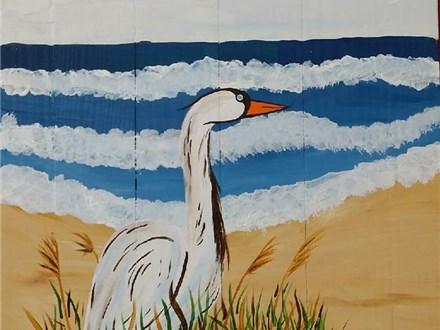 Heron by the Bay Wood Board