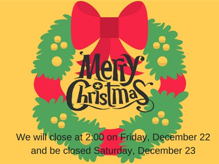 Merry Christmas! Studio Closed Friday evening and Saturday