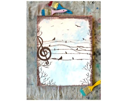 Music Note Birds Paint Class - Perry