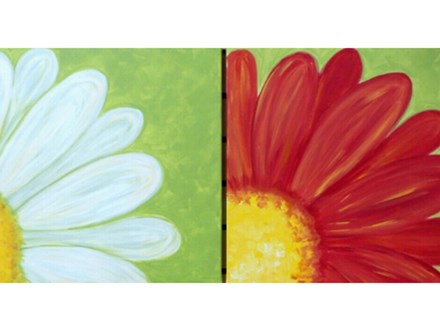 Daisy - adults and children ages 8+  One canvas per person $25 each. *choice colors (canvas size 12x16)