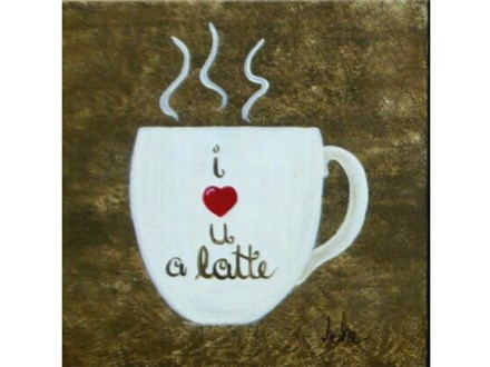I love you a latte - your choice design - add any message 12x12 each canvas