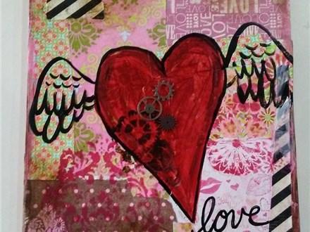 Valentine's Day Mixed Media Heart Canvas