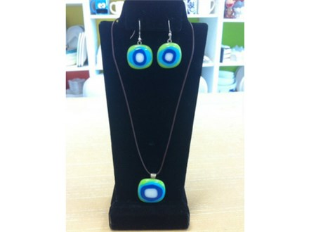 Fused Glass pendant and Earring Party