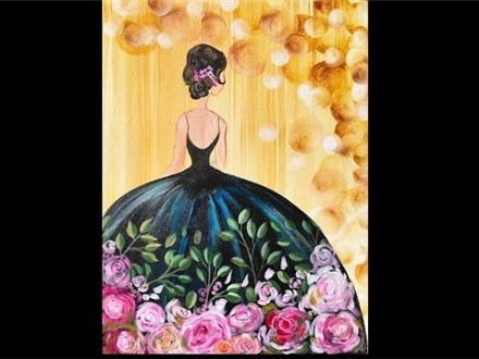 Girl in a Party Dress - Canvas - Paint and Sip