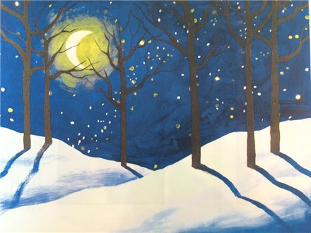 Canvas & Wine Night!  Winter Woods!  1/2/17