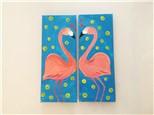 Flirting Flamingos (Couples) Canvas Class