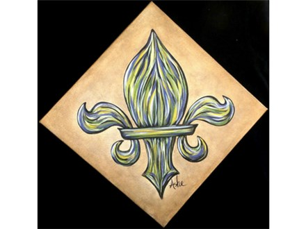 Fleur de lis - black background is not part of painting. The canvas is turned diagonally. 12x12 canvas