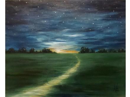 Night Path - (canvas size 16x20)