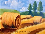 Bales and Blue Skies Canvas Painting