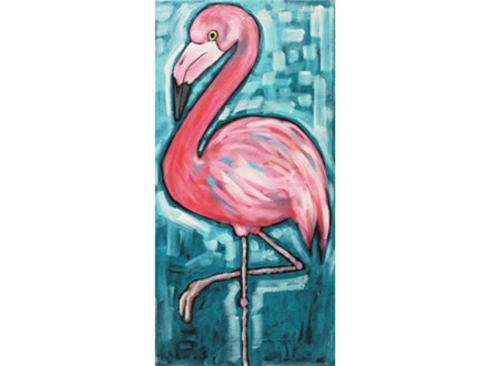 Flamingo (10 x 20 canvas) *singles version
