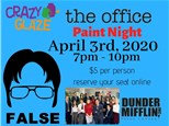 THE OFFICE Paint Night at Crazy Glaze Apr 3rd