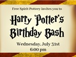 Harry Potter's Birthday Bash, July 31st