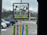 "6"" Glass Fused WInd Chime with Metal Frame and Hanger"