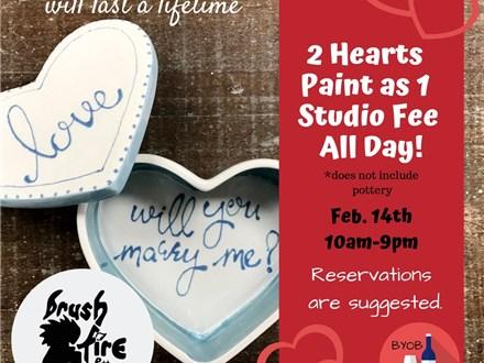 2 Hearts Paint as 1 Studio Fee