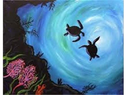 Canvas & Wine Night!  Sea Turtles!  1/12/17