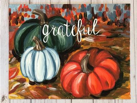 Grateful Autumn Pumpkin Canvas