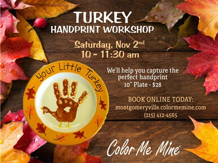 Little Turkey Handprint Plate Workshop - November 2nd