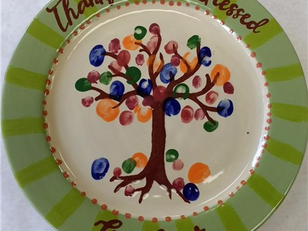 """Thankful"" Family Tree Plate"