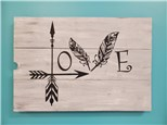 Love Feather Wooden Board
