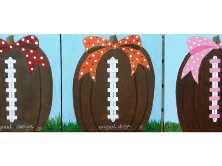 Pumpkin Football - add any color for ribbon / any design (12x12 canvas)