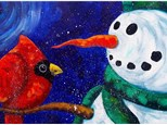Snowman With Cardinal - Canvas - Paint and Sip