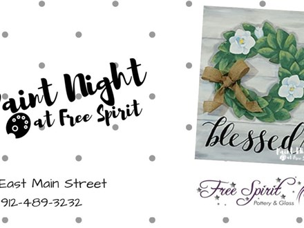 """Magnolia Wreath"" Paint Night, July 11th"