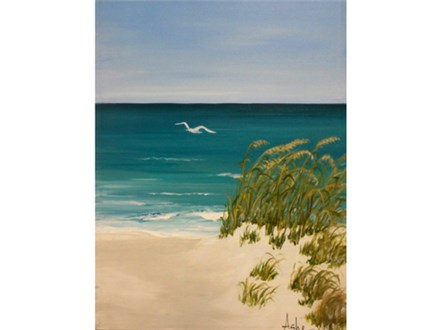 Surf, Sand and Seagull - canvas size 12x16