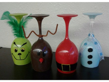Christmas Wine Glass Votive Stands - Christmas Creations - Dec 9