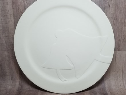 Rimmed Bells Dinner Plate - Ready to Paint