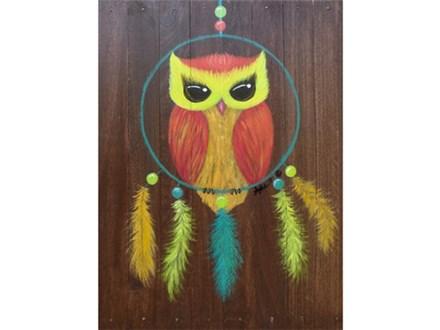 Dream Catcher Owl - 12x16 wood