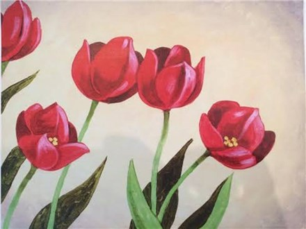 Canvas & Wine Night!  Tulips are Red!  4/4/16