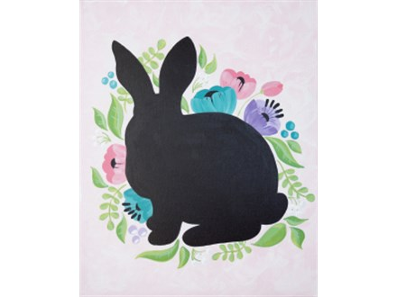 Adult Canvas - Floral Rabbit - Evening Session - 04.04.19