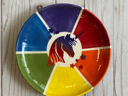 Art Club Week 4: Color Wheel Unicorn Plate