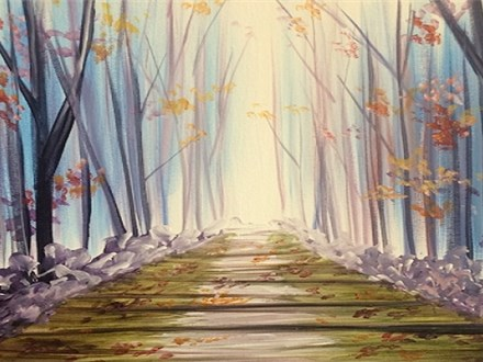 Autumn Path Canvas and Cocktails