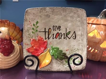 November 3rd Thanksgiving Hostess Plate 'Give Thanks'