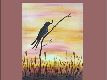 Scissor Tail at Sunset Canvas
