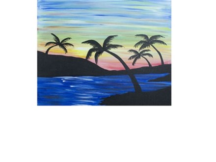 Sunset Palms Canvas and Cocktails