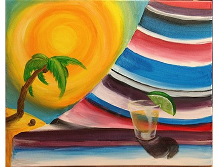 Celebrate the end of summer with a cold drink on the beach!