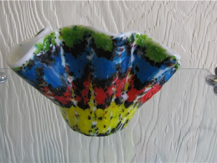 School's Out Workshop Marbled Fused Glass bowl