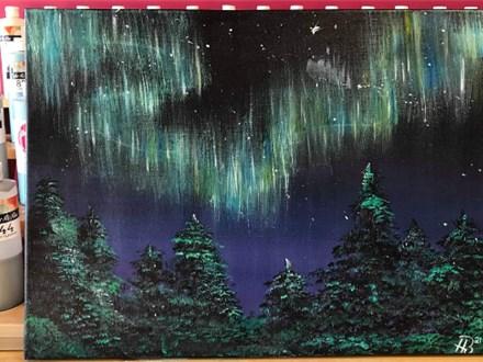 Northern Nights Canvas Painting Night @ Color Me Mine Lethbridge