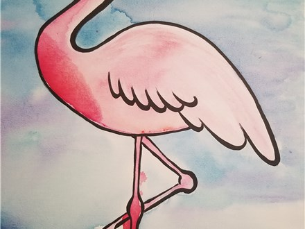 Paint Your Own Canvas Pack - Beach Flamingo