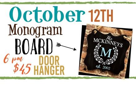 Oct. 12th Monogram Door Hanger