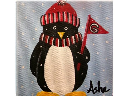 Penguins and Pajamas Paint Class - Ages 6+ *Paint your choice colors for hat and scarf and team.