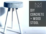 Concrete + Wood Stool
