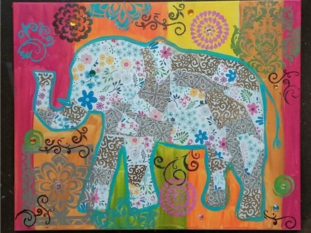 Bohemian Elephant Collage Canvas Class