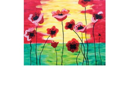 Poppies in Bloom Canvas and Cocktails