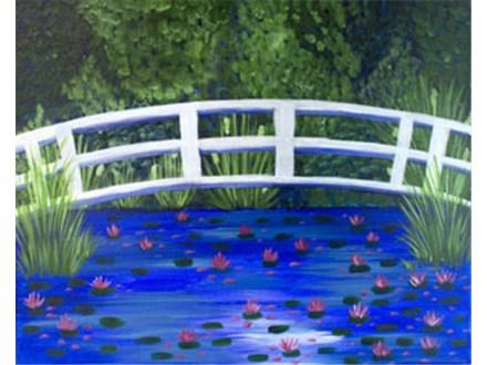 Canvas & Wine Night!  Bridge over Lilies!  3/10/16